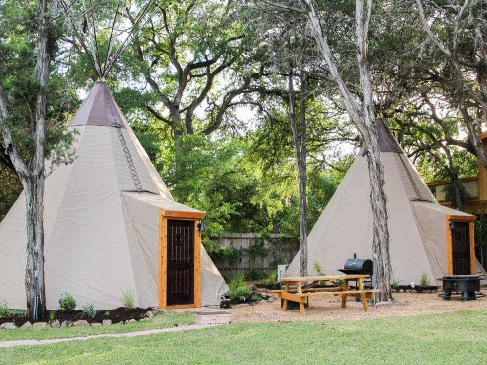 book the guadalupe tipi 5 yellow flower campsite in new braunfels New Braunfels Camping Cabins
