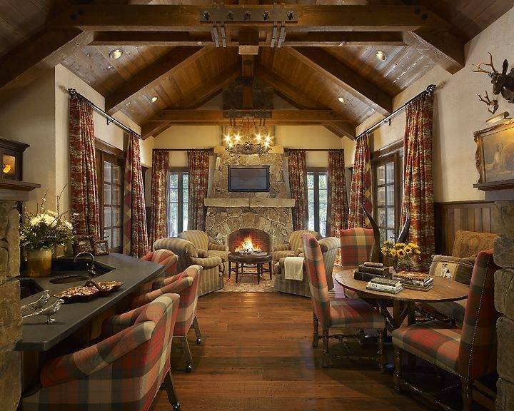 nestled in the pines this mountain retreat evokes the feel of a Hunting Cabins Interior Rustic