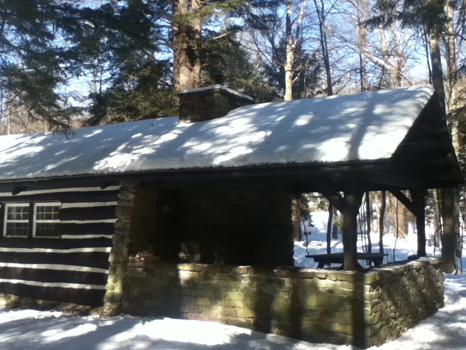 winter camping tripping fantastic Worlds End State Park Cabins