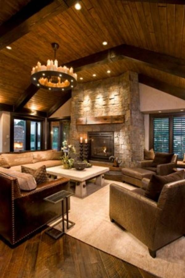 47 extremely cozy and rustic cabin style living rooms cabin ideas White Walls Brown Furniture Cabin Style Home