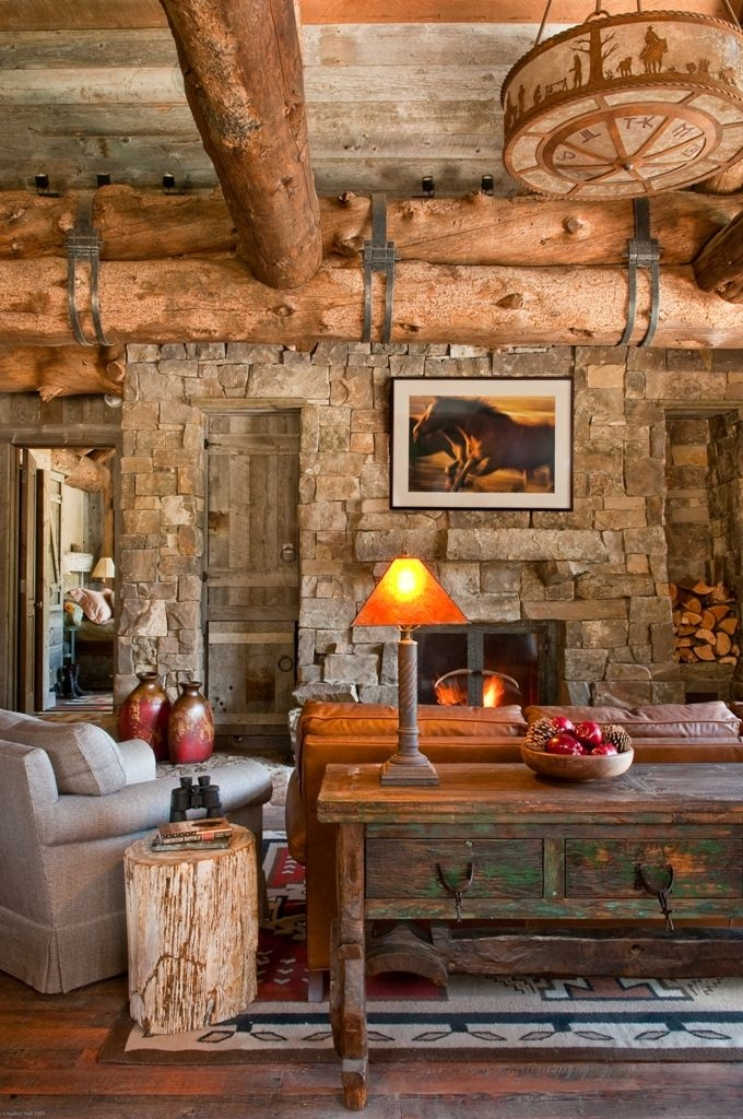 Stunning Country Cabin Living Room Ideas Gallery