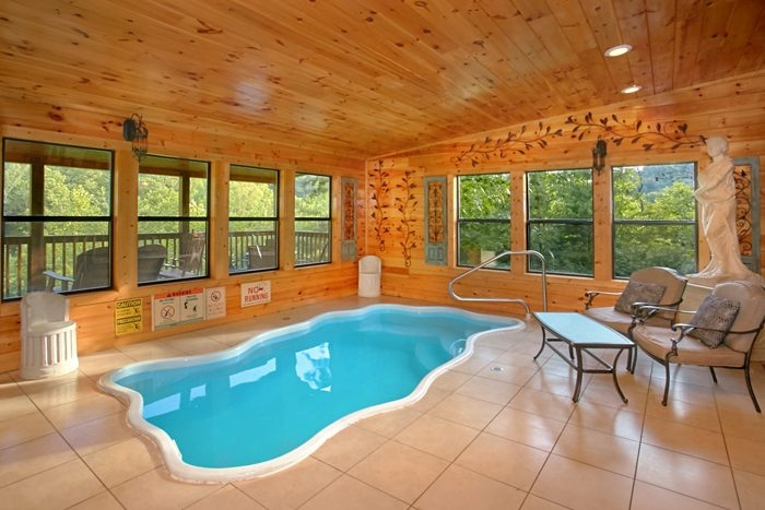 luxury pigeon forge cabin with view and indoor pool Private Cabins In Gatlinburg