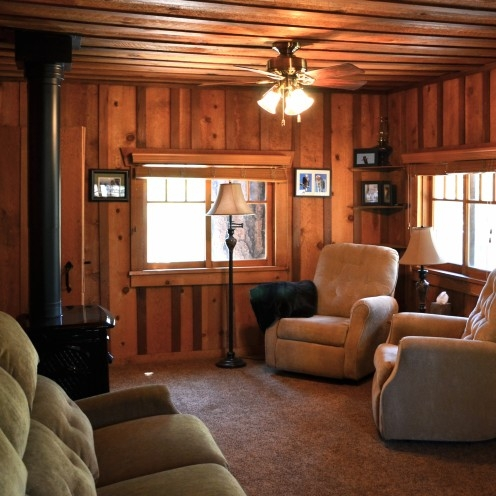 my log cabin living room renovation after orange county White Walls Brown Furniture Cabin Style Home
