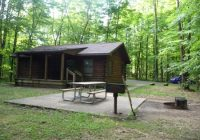 front of cabin 15 with picnic table barbecue and fire pit picture Pymatuning State Park Cabins
