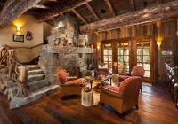 old west inspired luxury rustic log cabin in big sky montana Rustic Log Cabin Interiors