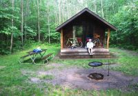 pine river bicycle and canoe trip Manistee National Forest Cabins